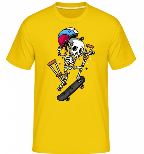 Skeleton Skateboarding -  Shirtinator Men's T-Shirt - Golden yellow - Front