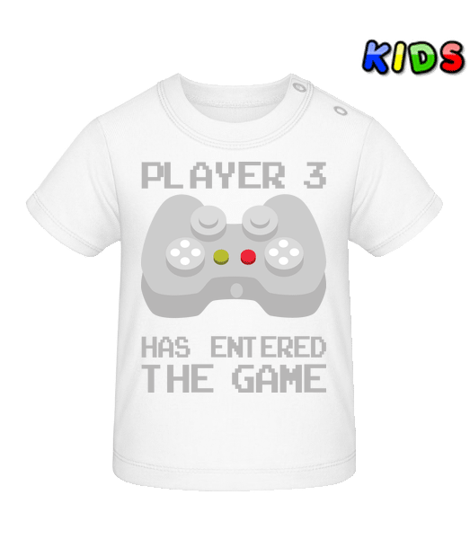 Player 3 Entered The Game - Baby T-Shirt - White - Vorn