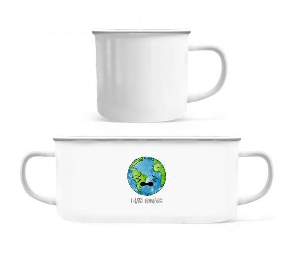 Earth Hates Humans - Enamel-cup - White - Vorn