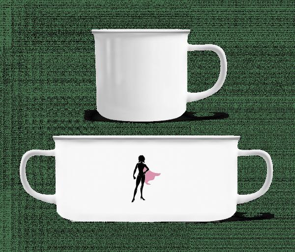 Superwoman Silhouette - Emaille hrnek - Bílá - Napřed