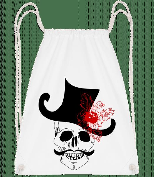 Skull With Hat - Drawstring Backpack - White - Vorn