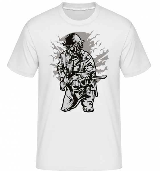 Steampunk Style Soldier -  Shirtinator Men's T-Shirt - White - Front
