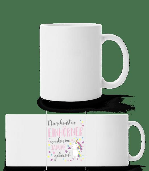Einhorn Geboren In JANUAR - Panoramatasse - Weiß - Vorn