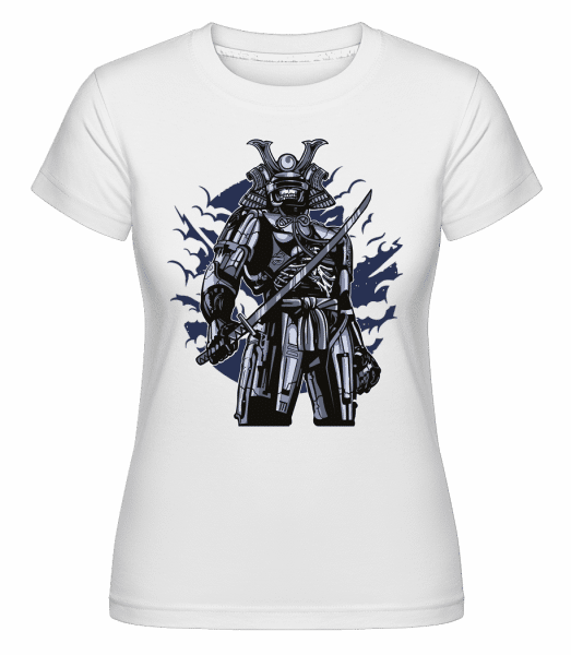 Samurai Robot Skull -  Shirtinator Women's T-Shirt - White - Vorn