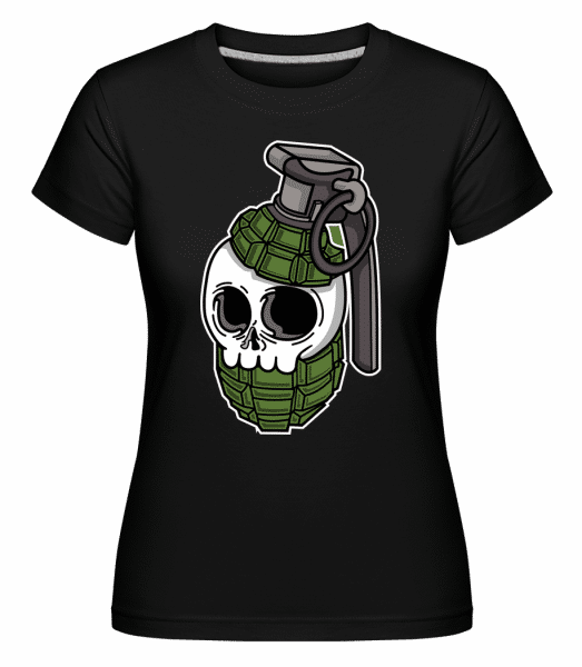 Skull Grenade -  Shirtinator Women's T-Shirt - Black - Front