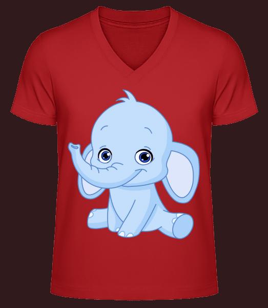 Elefant Comic - Männer Bio T-Shirt V-Ausschnitt - Rot - Vorn