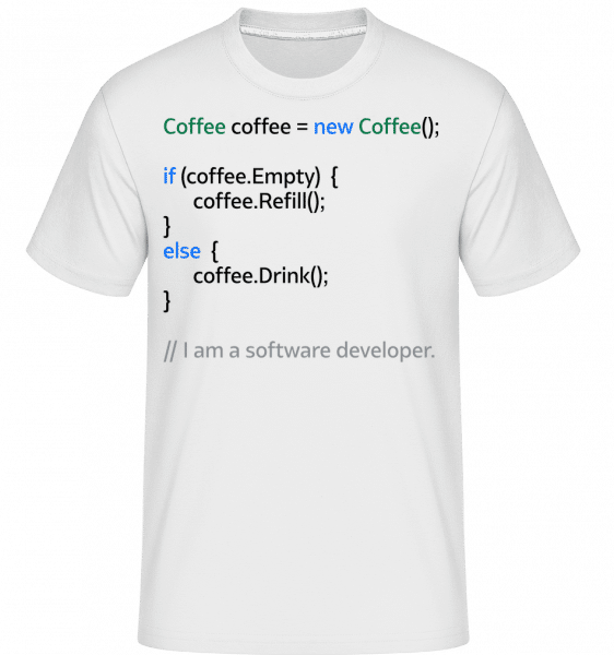 Coffee Loop -  T-Shirt Shirtinator homme - Blanc - Devant