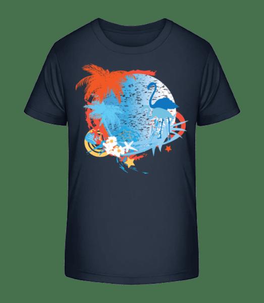 Flamingos In Paradise Blue/Orang - Kinder Premium Bio T-Shirt - Marine - Vorn