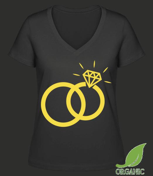 "Wedding Rings - ""Janet"" Organic V-Neck T-Shirt - Black - Vorn"