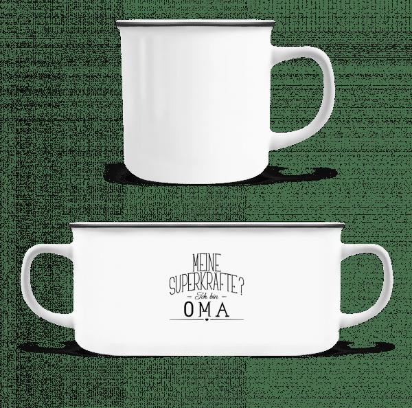 Superkräfte Oma - Emaille-Tasse - Weiß - Vorn
