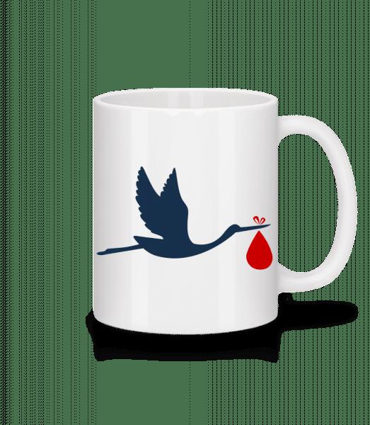 Stork Brings Baby - Keramický hrnek - Bílá - Napřed