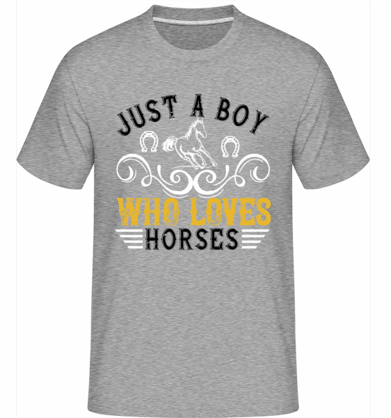 Just A Boy Who Loves Horses -  Shirtinator Men's T-Shirt - Heather grey - Front