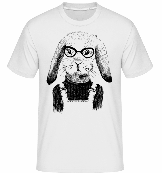 Hipster Rabbit -  Shirtinator Men's T-Shirt - White - Vorn