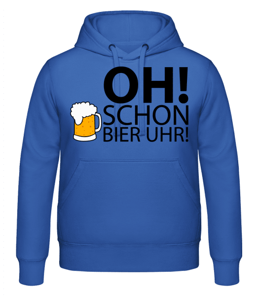 Oh! Schon Bier Uhr! - Kapuzenhoodie - Royalblau - Vorn