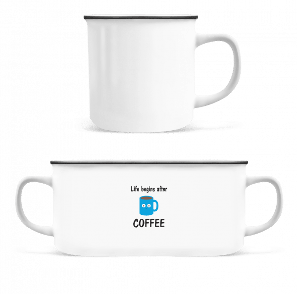 Life Begins After Coffee - Enamel-cup - White - Front