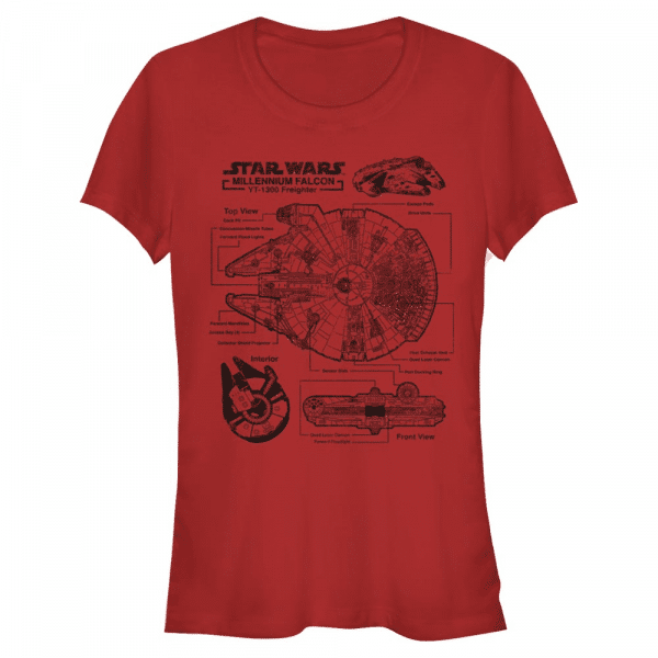 Falcon Schematic Millennium Falcon - Star Wars - Women's T-Shirt - Red - Front