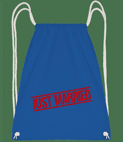 Just Married - Drawstring Backpack - Royal Blue - Vorn