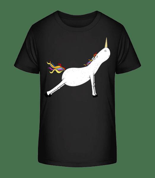 Stretched Yoga Unicorn - Kid's Premium Bio T-Shirt - Black - Vorn