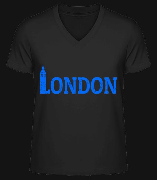 London UK - Men's V-Neck Organic T-Shirt - Black - Vorn