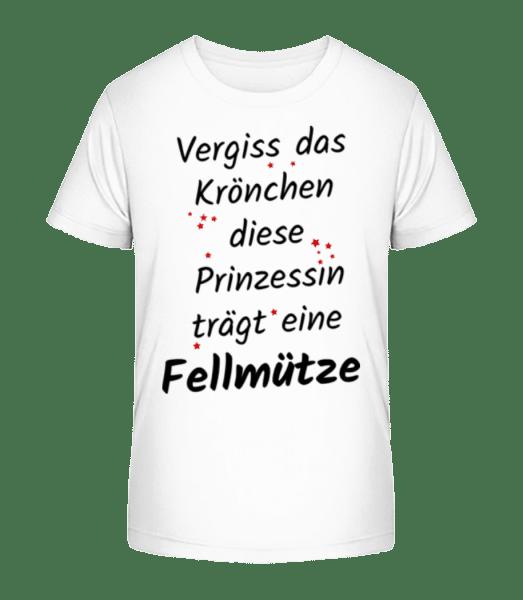 Prinzessin Trägt Fellmütze - Kinder Premium Bio T-Shirt - Weiß - Vorn