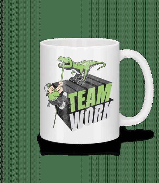 Dinosaur Teamwork - Mug - White - Vorn