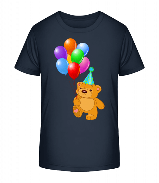 Bear with Balloons - Kid's Premium Bio T-Shirt - Navy - Vorn