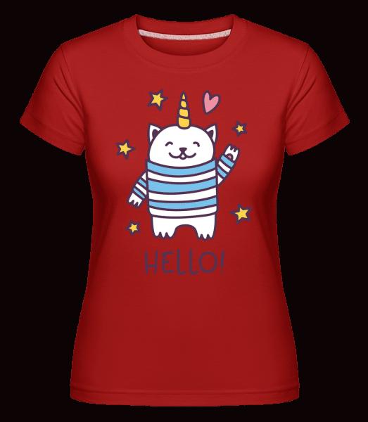 Hello Cat Unicorn -  Shirtinator Women's T-Shirt - Red - Vorn