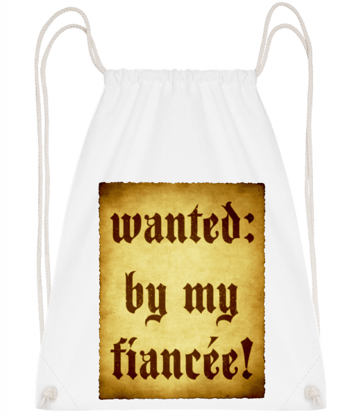 Wanted By My Fiancée - Drawstring Backpack - White - Vorn