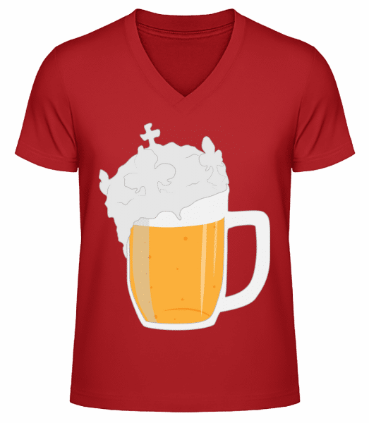 Beer - Men's V-Neck Organic T-Shirt - Red - Vorn