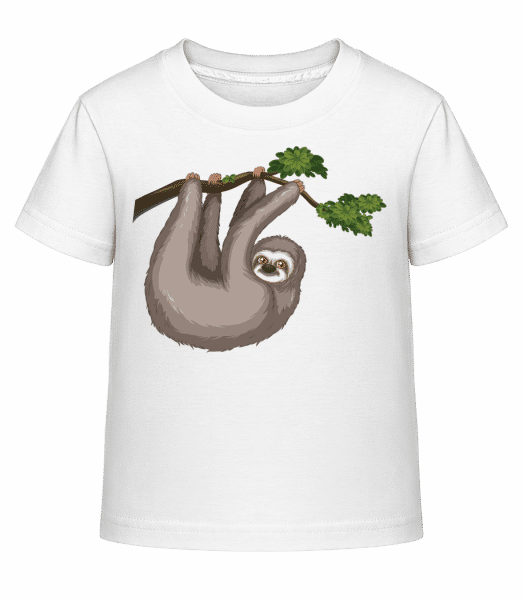 Sloth Hanging On A Branch - Kid's Shirtinator T-Shirt - White - Vorn