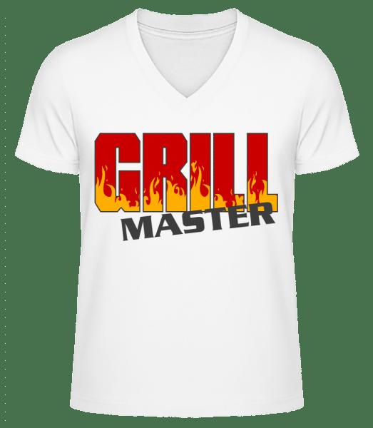 Grill Master - Men's V-Neck Organic T-Shirt - White - Front