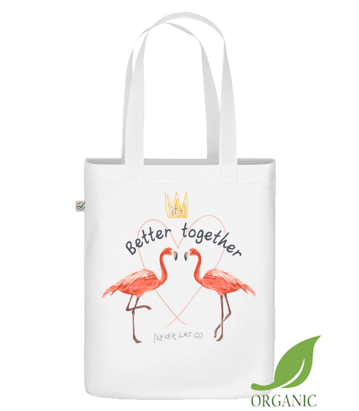 Better Together Flamingos - Sac en toile bio Earth Positive - Blanc - Vorn