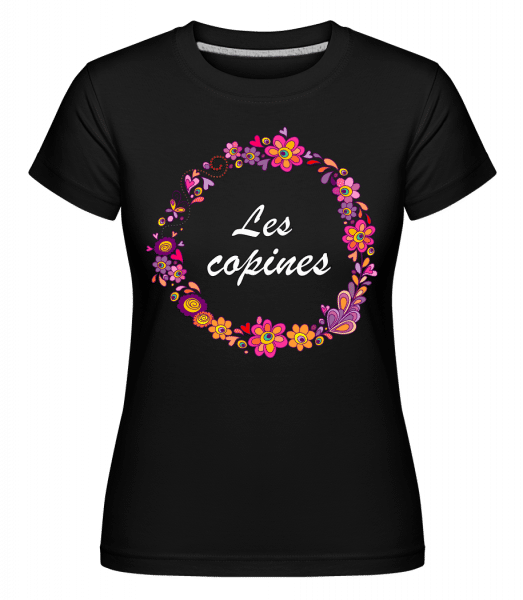 Les Copines Fleurs -  T-shirt Shirtinator femme - Noir - Vorn