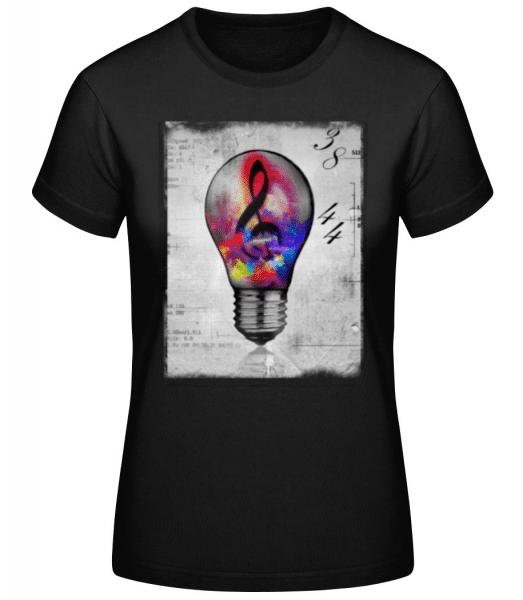 Bunte Glühbirne - Frauen Basic T-Shirt - Schwarz - Vorne