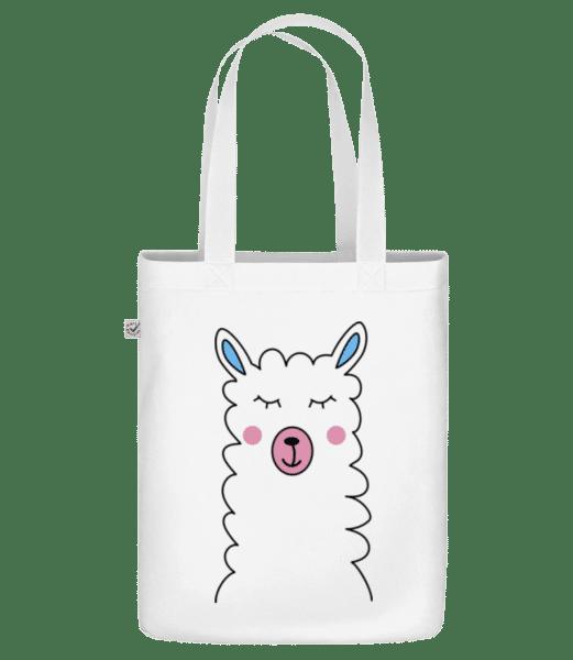 "Cute Lama - Organic ""Earth Positive"" tote bag - White - Front"