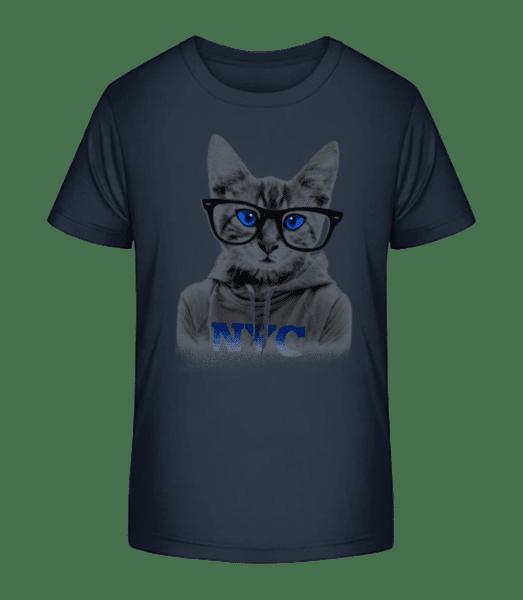 Cat NCY - Kinder Premium Bio T-Shirt - Marine - Vorn