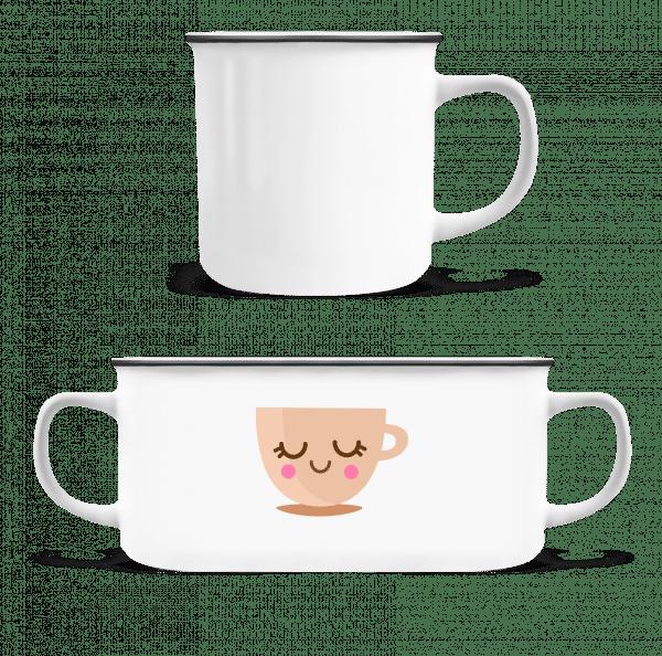 Cute Coffee Mug - Enamel-cup - White - Front