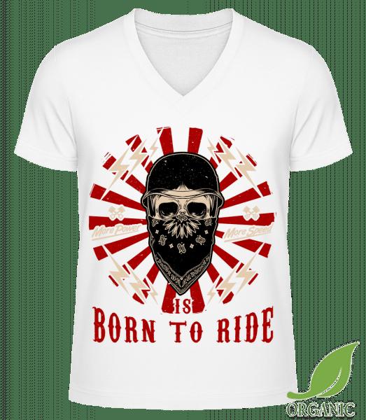"Born To Ride - ""James"" Organic V-Neck T-Shirt - White - Vorn"