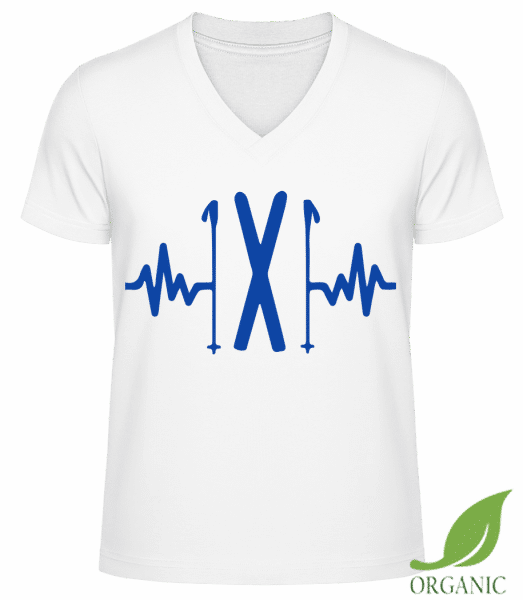 "Ski Heartbeat - ""James"" Organic V-Neck T-Shirt - White - Vorn"