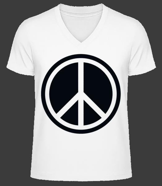 Peace Symbol - Men's V-Neck Organic T-Shirt - White - Vorn
