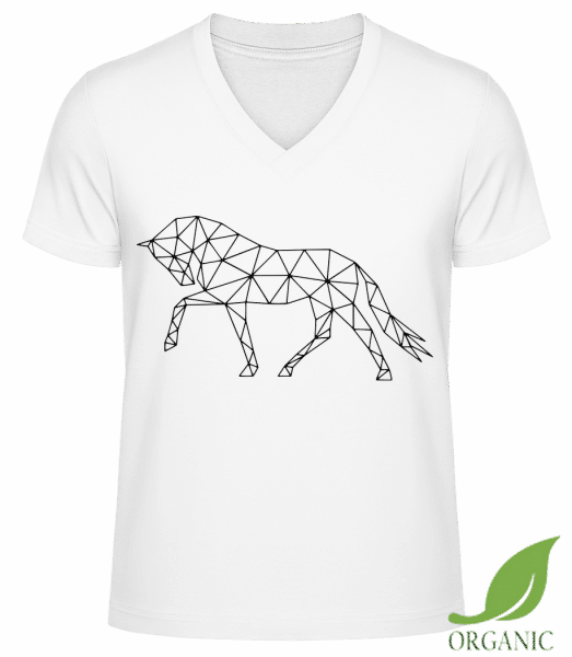 "Polygon Horse - ""James"" Organic V-Neck T-Shirt - White - Vorn"