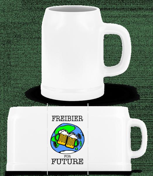 Freibier For Future - Bierkrug - Weiß - Vorn