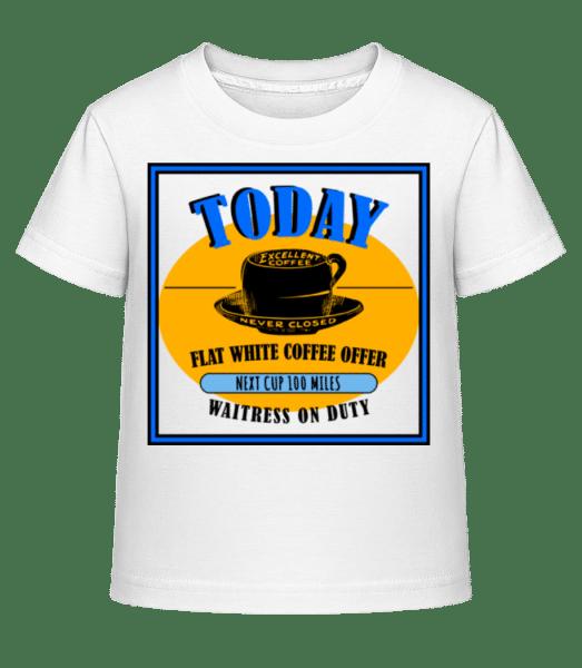 Flat White Coffee Offer - Kinder Shirtinator T-Shirt - Weiß - Vorn