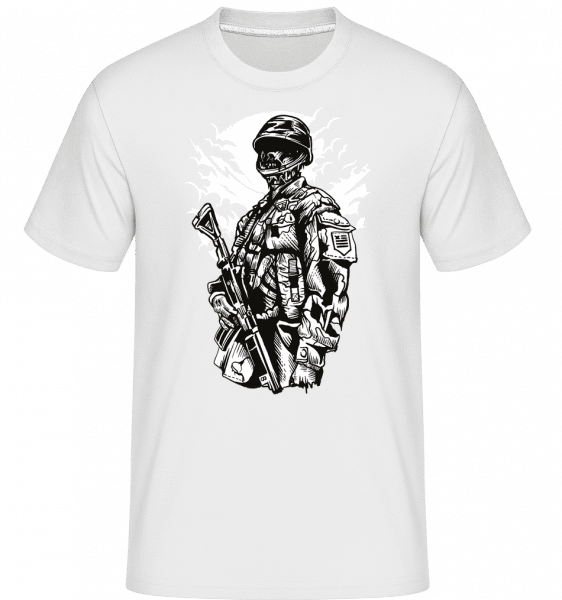 Zombie Soldier -  Shirtinator Men's T-Shirt - White - Front