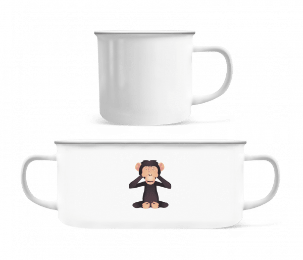 Blind Monkey - Enamel-cup - White - Vorn
