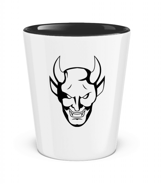 Devil Head - Two-Toned Shot Glass - White - Front