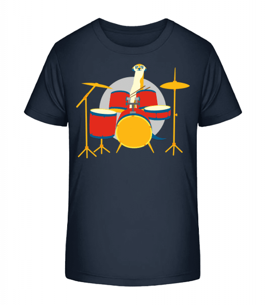 Meerkat Playing Drums - Kid's Premium Bio T-Shirt - Navy - Vorn