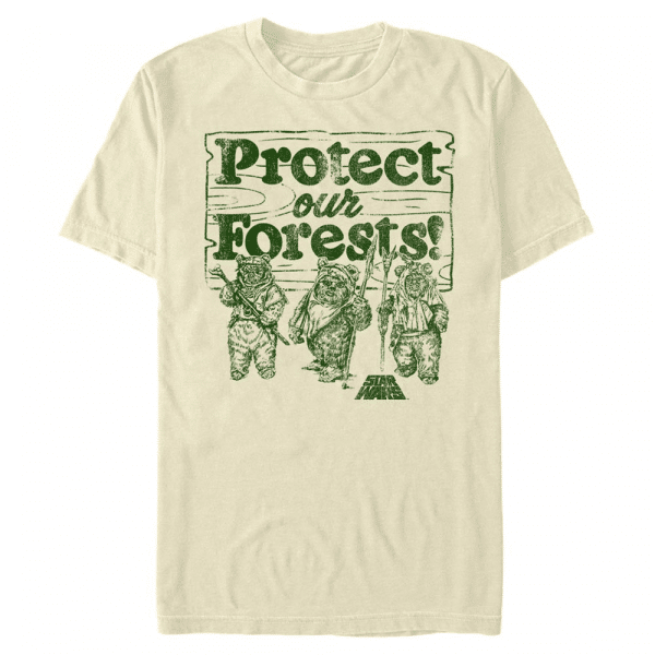 Protect Our Forest Ewok - Star Wars - Men's T-Shirt - Cream - Front