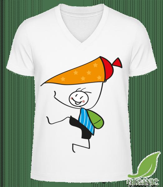 """Kind Mit Sternchen-Schultüte - """"James"""" Organic V-Neck T-Shirt - White - Vorn"""