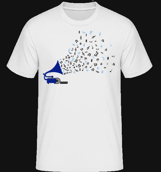 Music Notes Gramophone -  Shirtinator tričko pro pány - Bílá - Napřed